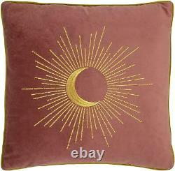 2 X Filled Embroidered Eclipse Rose Pink Gold Velvet Piped 20 50cm Cushions