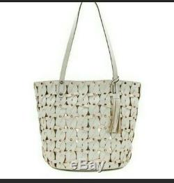 $299 Patricia Nash Twisted Braid Leather Mizzana Tote in White Rose gold NWT