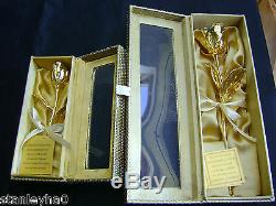 ANNIVERSARY GIFT 24K Gold Dipped Real Rose Various Sizes PRETTY HANDCRAFTED BOX