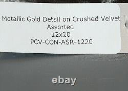AVIVA STANOFF PEWTER Crushed Velvet WithGOLD ROSE CONSTELLATION Pillow 20x12 #A