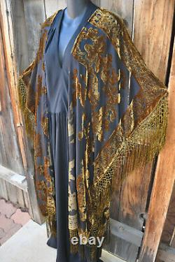 Art To Wear Gold On Black Silk Velvet Burnout Kimono Jacket 76b, Os+, Nwot