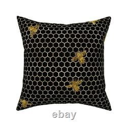 Bees Hive Hexagons Rose Gold Throw Pillow Cover w Optional Insert by Roostery