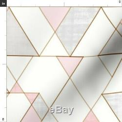 Blush Rose Gold Geometric Triangles Modern 50 Wide Curtain Panel by Roostery