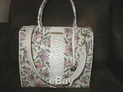 Brahmin Caroline Ivory Labyrinth Pink Floral Leather Satchel Handbag NWT $415