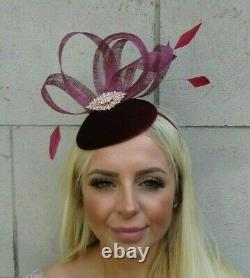 Burgundy Wine Red & Rose Gold Velvet Feather Hat Fascinator Wedding Races 0737
