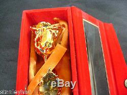 CHRISTMAS GIFT 24K Gold Dipped 6 Real Rose with Gold Satin & Red Velvet Box NEW
