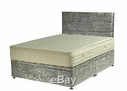 Crushed Velvet Divan Ottoman With Headboard And Mattress 3 Colours 3 Sizes