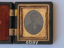 DAGUERREOTYPE Young Man 16th plate Beehive case Rose velvet gold colored Bowtie