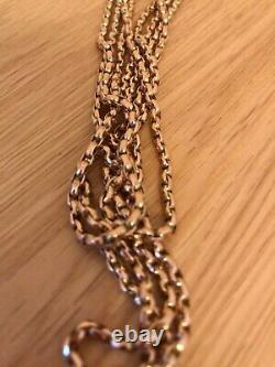Fabulous Vintage 9ct Rose Gold 56 Muff Guard Curb Link Chain & Black Velvet Box