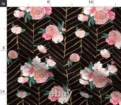 Floral Flower Rose Pink Black Throw Pillow Cover w Optional Insert by Roostery