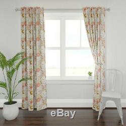 Floral Flower Rust Gold White Blush Coral 50 Wide Curtain Panel by Roostery