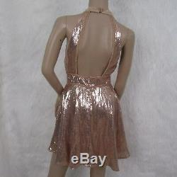 Free People Rose Gold Sequin and Velvet Fit and Flare Choker Dress Size 2