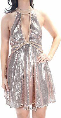 Free People Womens Sequined Velvet Trim Party Dress Rose Gold, 6