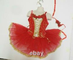 Girls Ballet costume Red Velvet Lacing Roses Gold Caviar Beading Hdpc incl $60