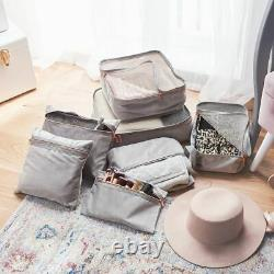 Grey & Rose Gold Holiday Travel Organiser Storage Bags Cosmetic Clothing Makeup