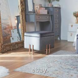 Grey Velvet Square Storage Stool Ottoman with Rose Gold Legs Bedroom Lounge