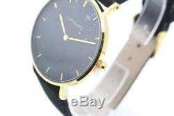 I Am Kamu Enigma Velvet Black Watch Stainless Steel Rose Gold Leather 36 mm (C)