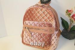 IMO Backpack Velvet quilted with gold studs, with pouch NWT