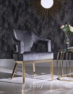 Iconic Home Gourdon Accent Chair Plush Velvet Upholstered Swoop Arm Gold Tone
