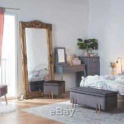 Large Grey Velvet Storage Ottoman Padded Double Bench Seat with Rose Gold Legs