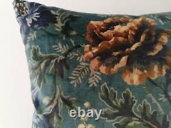 Liberty House of Hackney Velvet Opia Gold Rose & Blue Fabric Cushion Cover Arts