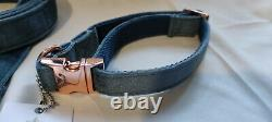 Lux Dusty Blue Velvet Dog Collar & Lead with Rose Gold Small 10-16 Neck