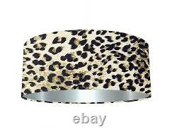 Luxurious Leopard Print Velvet Fabric Lampshade 6 Brushed Linings Bronze