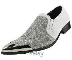 Men's Dress Shoes, Sparkling Loafers for Men Rhinestone Smoking Slippers
