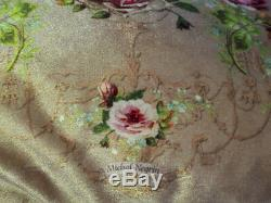 Michal Negrin Gold Rose Velvet Fringe Cushion Cover Throw Pillow Victorian Style