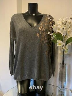 Mint Velvet Grey Rose Gold Animal Print Glitter Batwing Top Size Medium