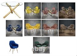 Modern Round Glass Top Dining Room Table Set/Chunky Gold Legs/4 Velvet Chairs