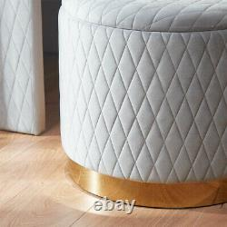 NEW Grey Velvet and Rose Gold Quilted Storage Stool