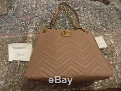 NEW Gucci Rose Taupe Quilted Marmont Lg Matelasse Chain Tote Shoulder Bag 868708