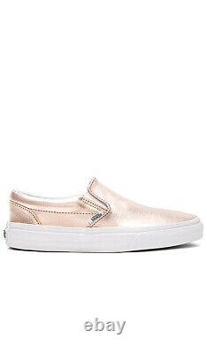 NEW IN BOX VANS Classic Slip On Shoes Metallic Rose Gold sz Womens 6