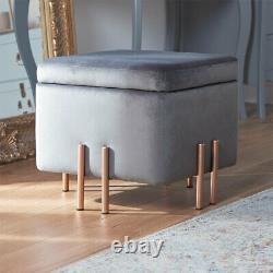 NEW Small Grey Velvet Storage Stool Seat with Rose Gold Legs