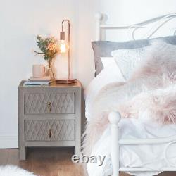 NEW Stunning Plush Grey Velvet Quilted Bedside Table with Rose Gold Accent
