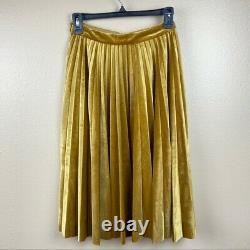 NWT Endless Rose gold velvet pleated midi skirt holiday party size XS