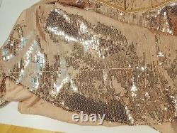 NWT Free People Rose Gold Film Noir Sequin Mini Cocktail Dress Sz 2 Party/Prom