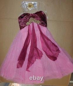 NWT LYRICAL BALLET DANCE COSTUME ch/Ad Chiffon Flyers Gold Braid Rose clearstrp