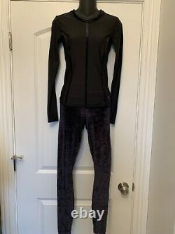 NWT Puma Black Cell Nocturnal Velvet Tight Rose Gold L/S Top XS Gym Lounge $160