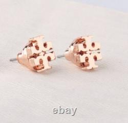 NWT TORY BURCH SMALL ROSE GOLD LOGO T STUD EARRINGS $78 w VELVET POUCH FREE SHIP