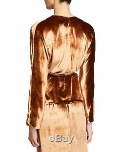 NWT- Vince Panne Velvet Long-Sleeve Wrap-Front Top, Rose Gold Size Large