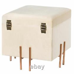 New Square Velvet Storage Ottoman with Rose Gold Legs