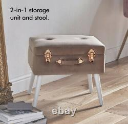 New! Storage Trunk Stool Pearlised Pouffe Velvet Pink and Rose Gold