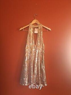 Nwt Free People Rose Gold Holiday Party Boho Sequin Velvet Trim Mini Dress 4