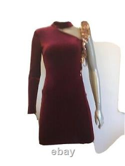 Nwt Roberto Cavalli Blood Red Velvet Rose Gold Sequined One Sleeve Dress Size 38