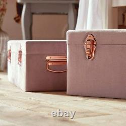 Ottoman Storage Trunks Set of 2 Pink Velvet Storage Chests with Rose Gold