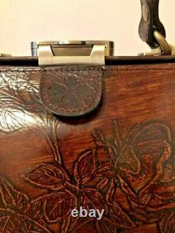 Patricia Nash Gracchi BARKLEAVES Embossed Leather Satchel Special Edition NWT
