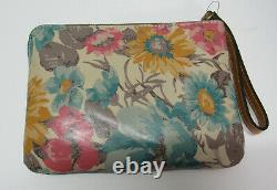 Patricia Nash Large Zippered Leather Wristlet Clutch Cassini First Bloom New Tag