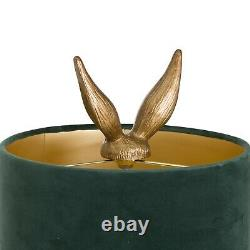 Quirky Hare Table Lamp with Green Velvet Shade Statement Piece